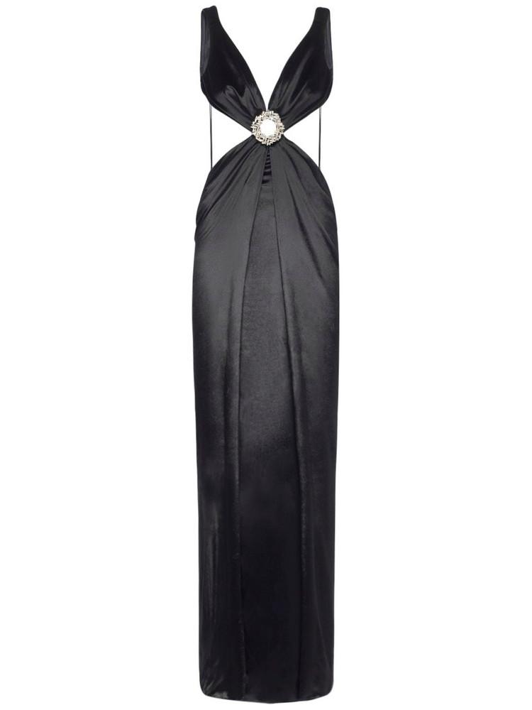 AZZARO Hortensia Satin Long Dress in black