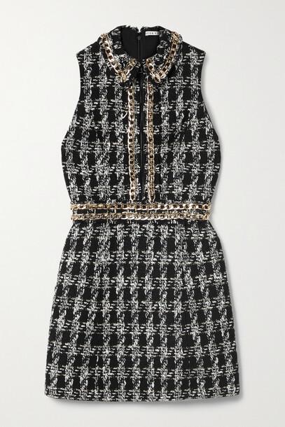 Alice + Olivia Alice + Olivia - Ellis Chain-embellished Checked Tweed Mini Dress - Black