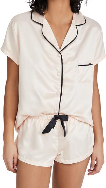 Bluebella Abigail Shirt and Short Set in black / pink