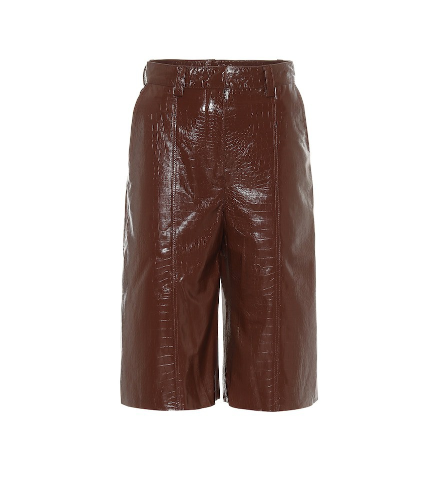 Dodo Bar Or High-rise leather Bermuda shorts in brown