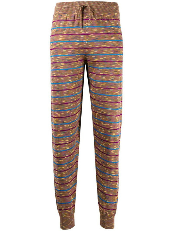 M Missoni striped tapered track pants in brown