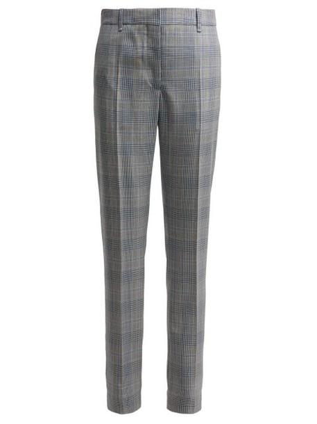 Calvin Klein 205w39nyc - Windowpane Straight Leg Wool Trousers - Womens - Blue Multi
