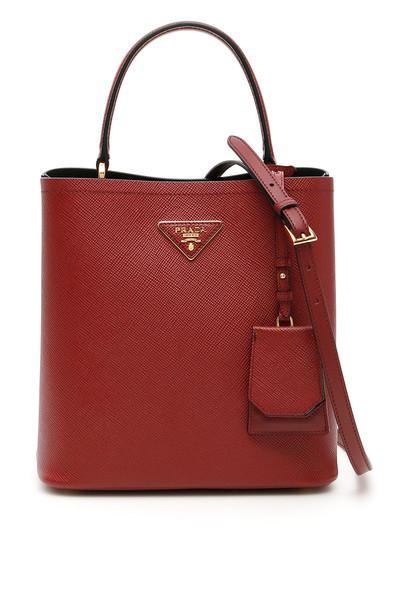 Prada Panier Saffiano Bag in nero / red