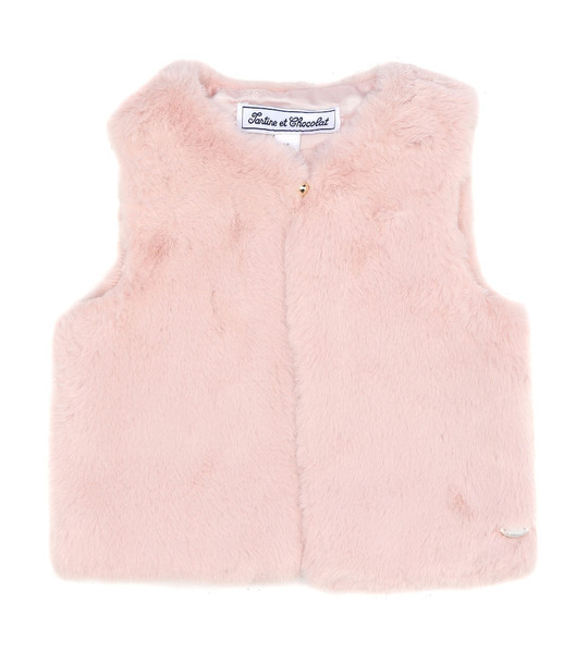 Tartine et Chocolat Faux fur vest in pink