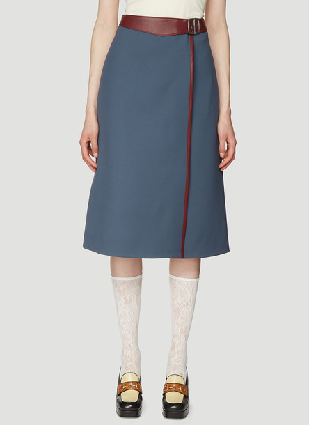 Gucci Leather Trimmed Wrap Skirt in Blue size IT - 40