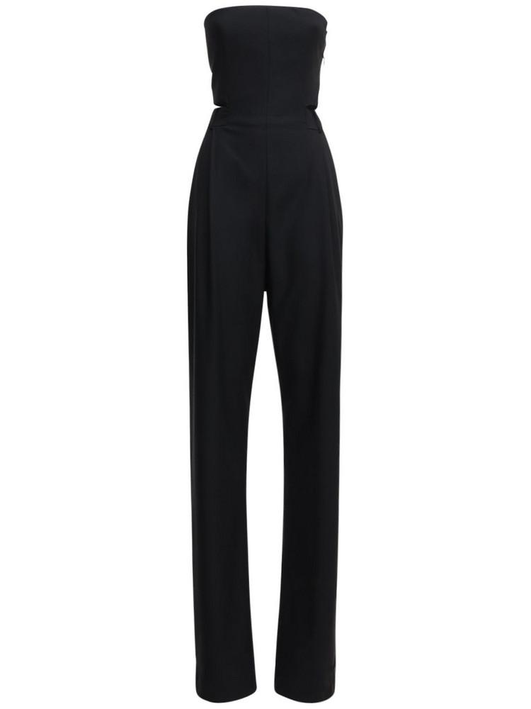 SALVATORE FERRAGAMO Strapless Wool Jumpsuit in black