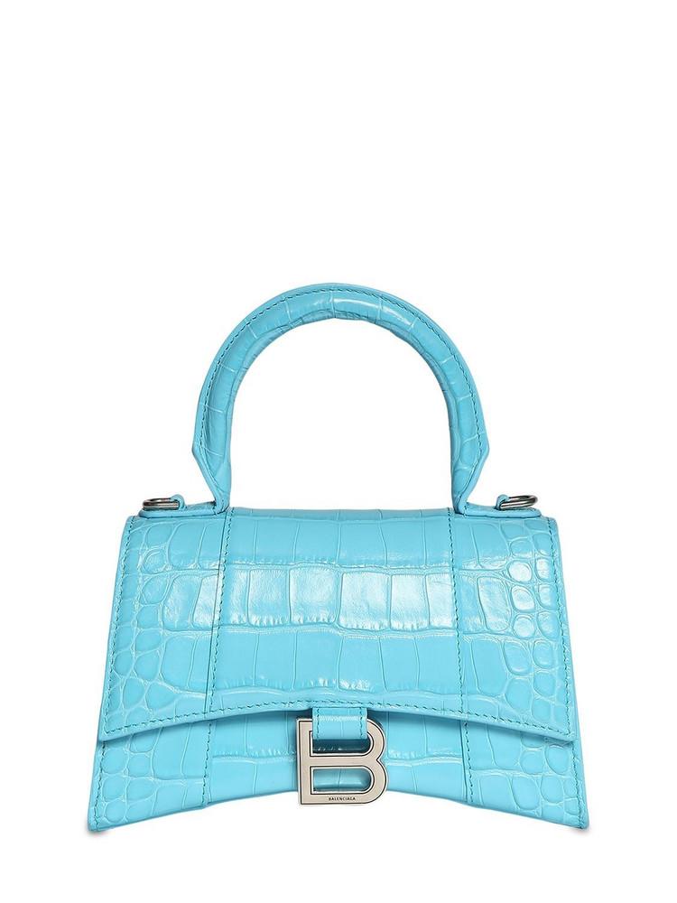 BALENCIAGA Xs Hourglass Croc Embossed Leather Bag