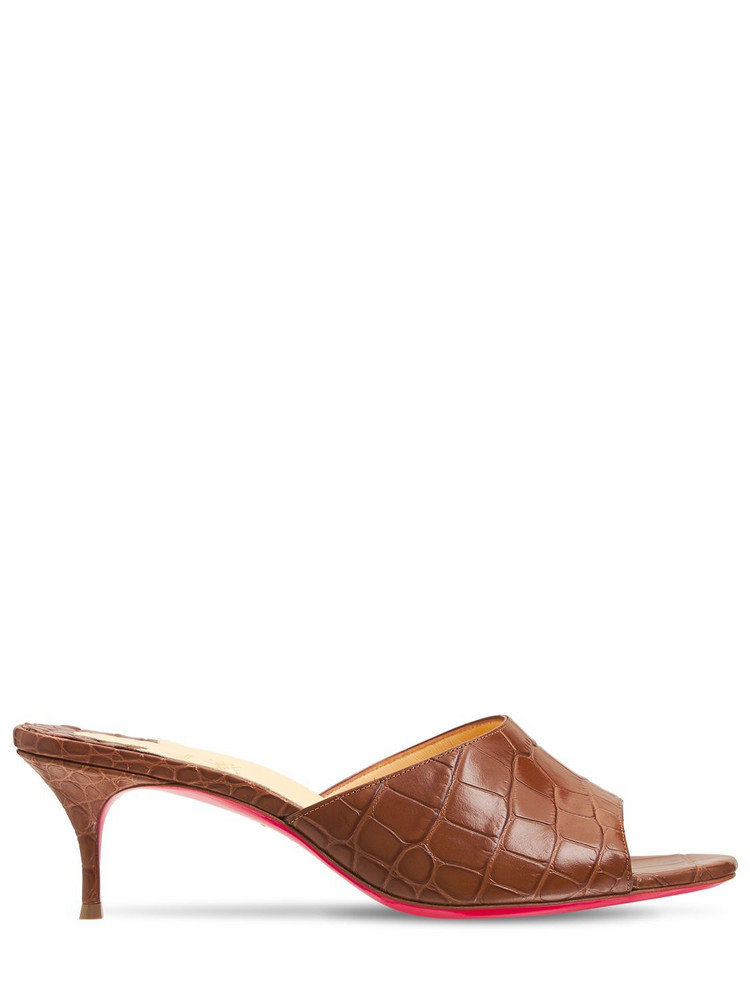 CHRISTIAN LOUBOUTIN 55mm East Croc Embossed Leather Mules in brown