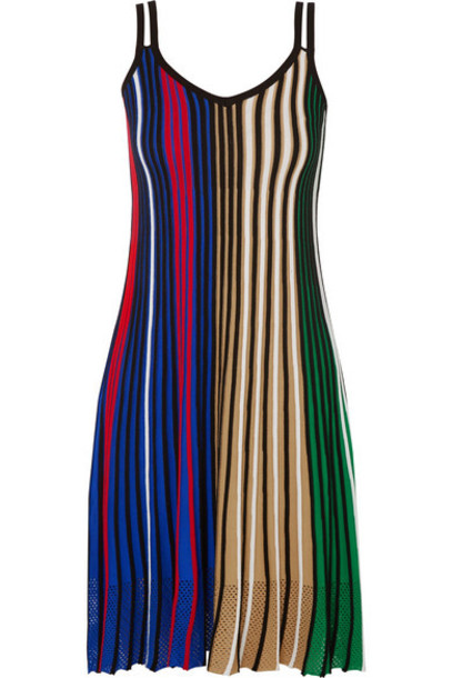 KENZO - Mesh-trimmed Striped Knitted Dress - Black