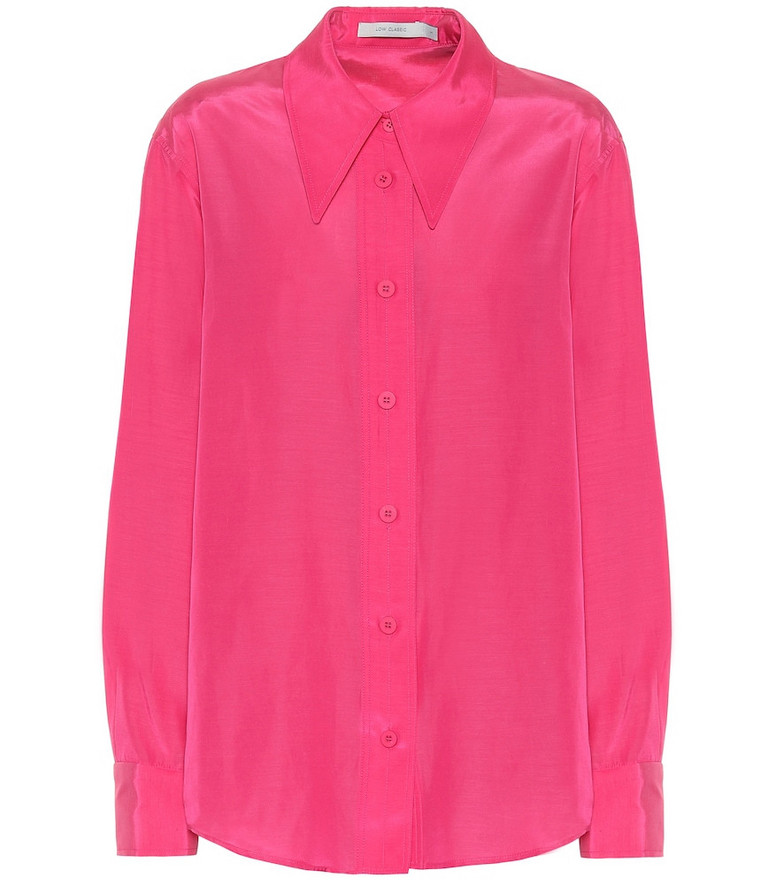 Low classic Silk and cotton shirt in pink