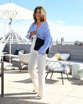 top,striped shirt,straight pants,white pants,pumps,bag