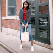 jacket,blazer,stripes,white sneakers,white bag,wide-leg pants,cropped jeans,striped top
