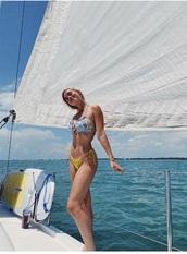 swimwear,bikini,floral,yellow,bikini top,bikini bottoms