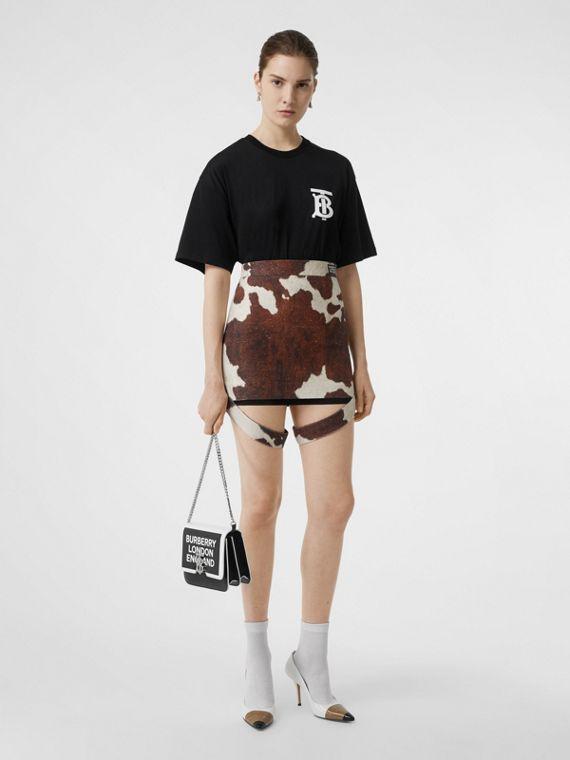 Monogram Motif Cotton Oversized T-shirt in Black - Women | Burberry United States