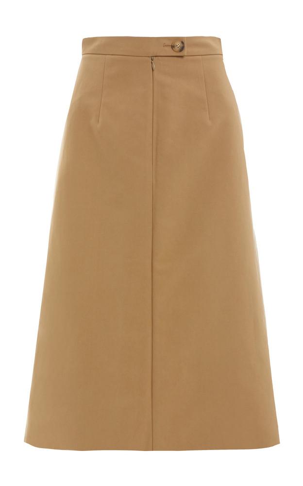 Rejina Pyo Hazel Pleated Cotton Midi Skirt in brown