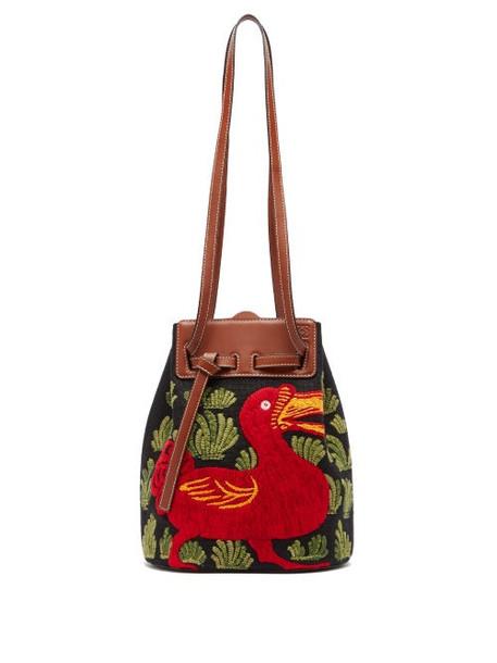Loewe - Lazo Dodo-embroidered Canvas Bucket Bag - Womens - Black Multi