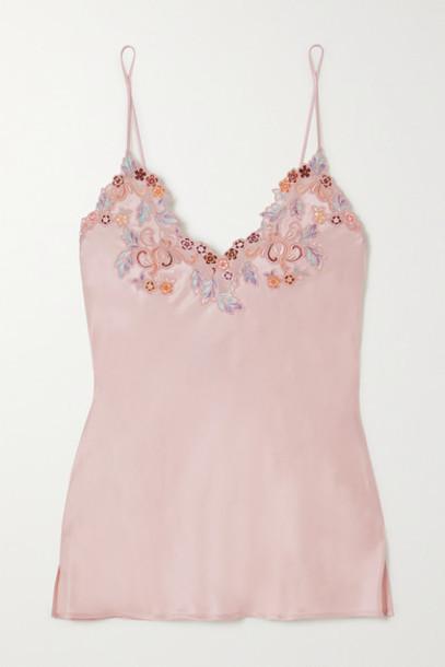 La Perla - Maison Rainbow Embroidered Lace-trimmed Silk Satin Pajama Top - Blush