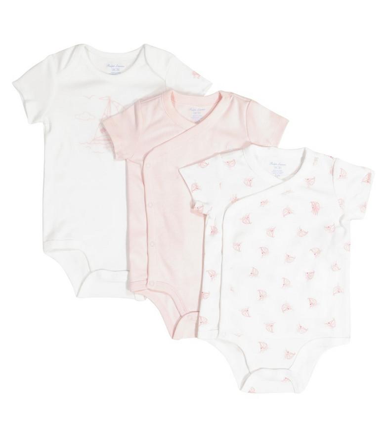 Polo Ralph Lauren Kids Baby set of 3 cotton bodysuits in pink
