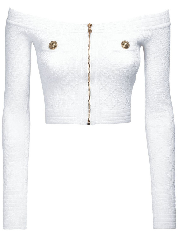 BALMAIN Off-the-shoulder Knit Viscose Blend Top in white