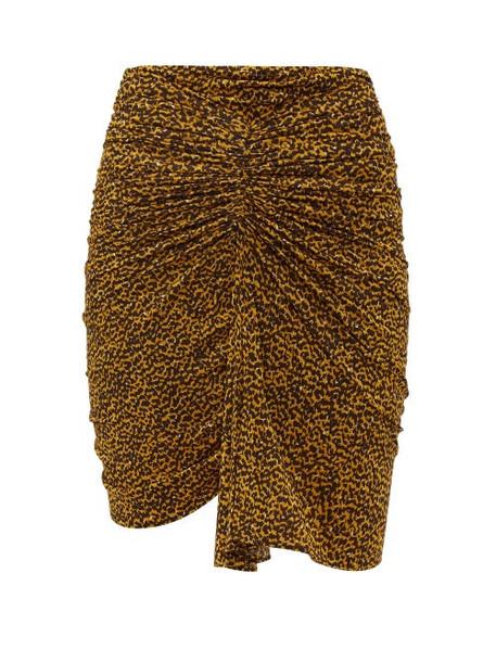 Isabel Marant - Jomily Ruched Leopard Print Mini Skirt - Womens - Black Yellow