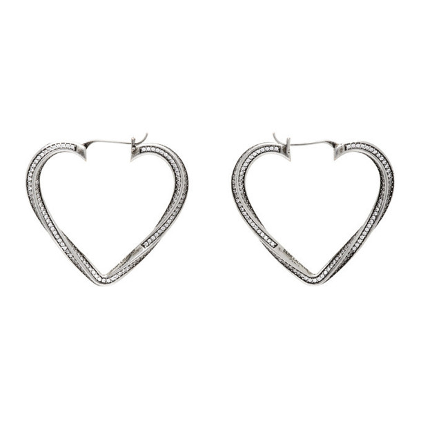 Saint Laurent Silver Smoking Twisted Heart Hoop Earrings