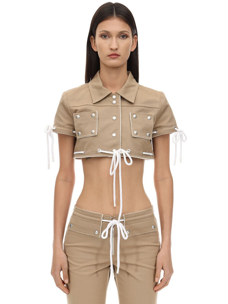 COURREGES Cropped Cotton Jacket W/ Studs in camel