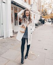 bag,tote bag,ankle boots,black boots,tights,mini skirt,turtleneck sweater,white sweater,white coat