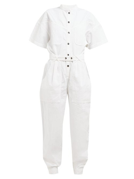 Isabel Marant - Tundra Contrast Pocket Denim Jumpsuit - Womens - White