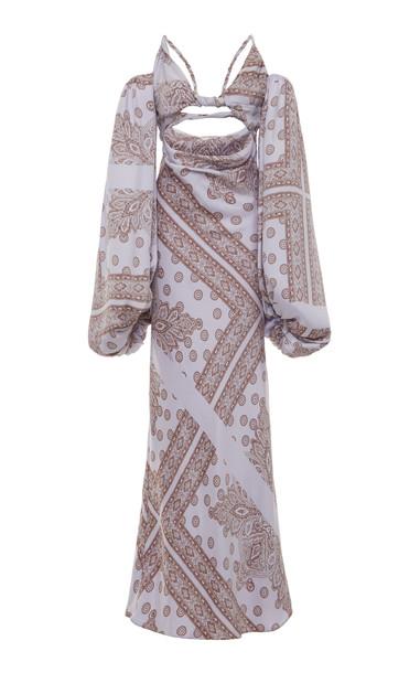 Attico Open-Front Printed Maxi Dress in print