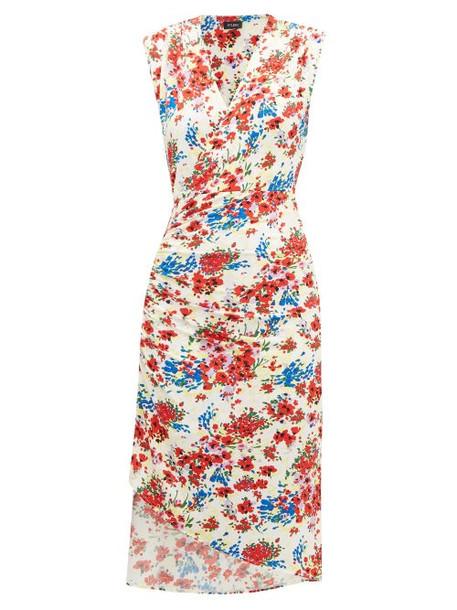 Atlein - Gathered Floral-print Stretch-jersey Dress - Womens - White Print