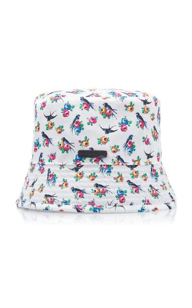 Prada Floral-Print Reversible Bucket Hat in black