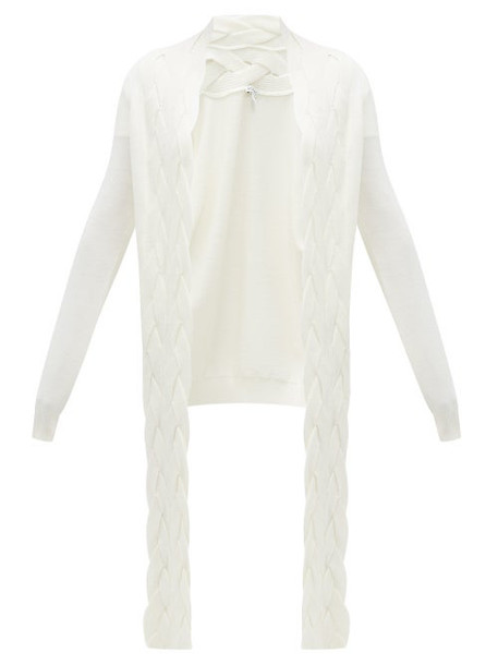 Loewe - Braided Panel Wool Cardigan - Womens - Cream