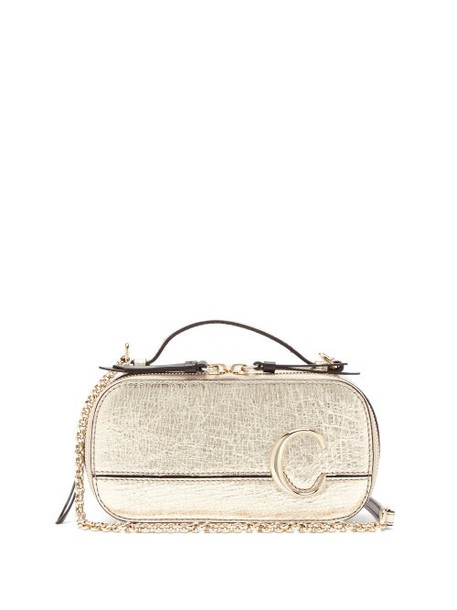 Chloé Chloé - The C Structured Metallic-leather Cross-body Bag - Womens - Gold