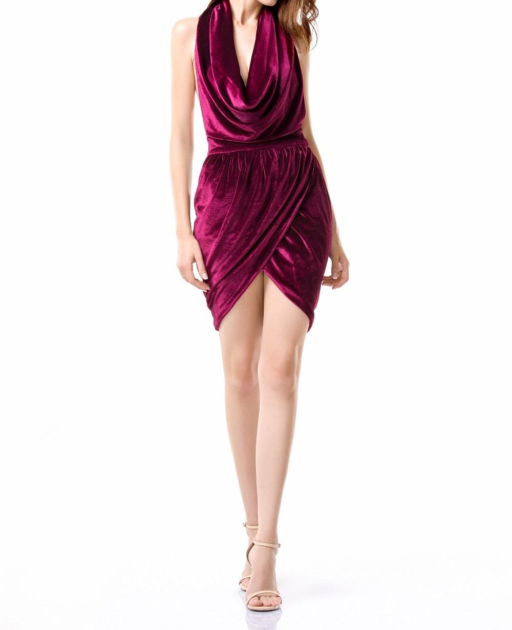 Burgundy Velvet Sleeveless Cowl Neck Elegant Wrap Dress on Storenvy