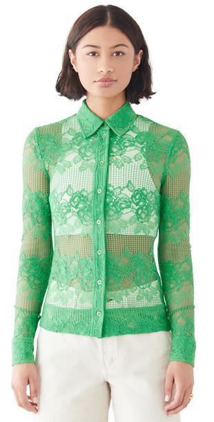 GANNI Lace Shirt in green