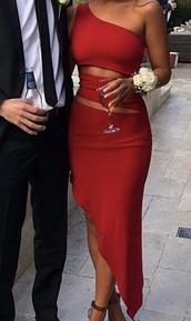 dress,red dress,one shoulder,formal dress,ball,cute,elegant,stomach cutout