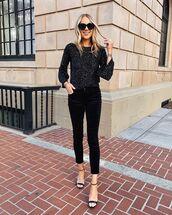 sweater,pullover,sequins,black sandals,black velvet pants