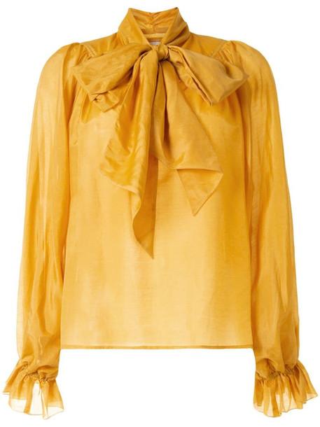 Karen Walker Ornamental pussy-bow blouse in yellow