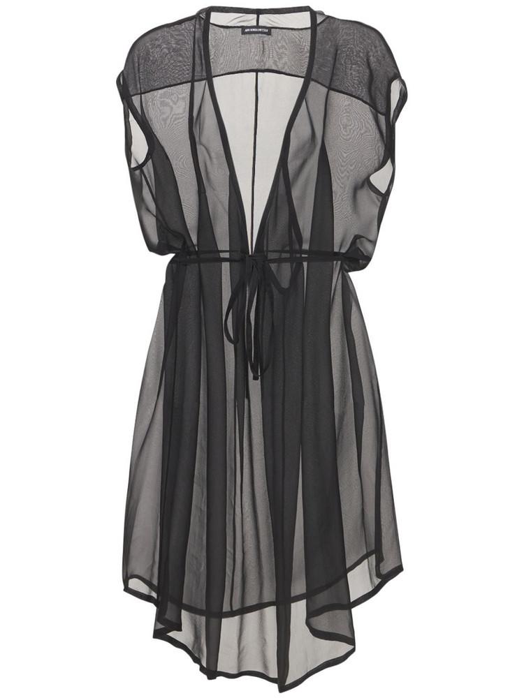 ANN DEMEULEMEESTER Silk Sheer Muslin Dress in black