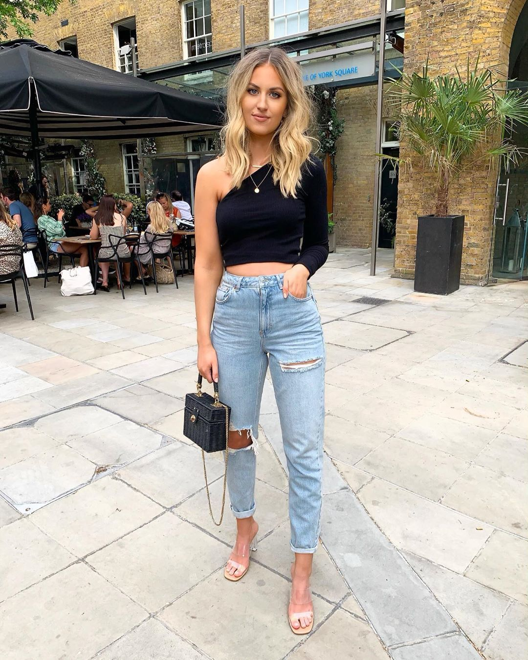 jeans ripped jeans high waisted jeans topshop sandals boxed bag black bag black top one shoulder crop tops