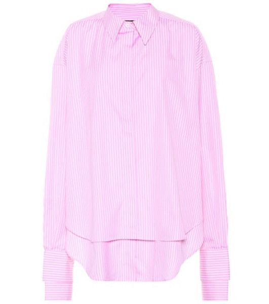 Rokh Striped cotton poplin shirt in pink