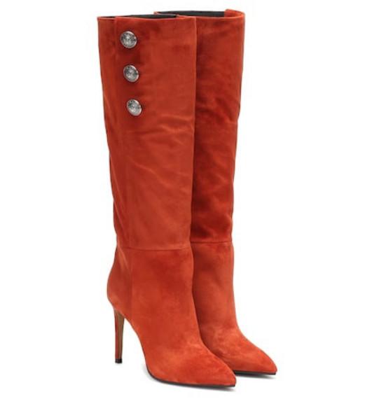 Balmain Suede knee-high boots in brown