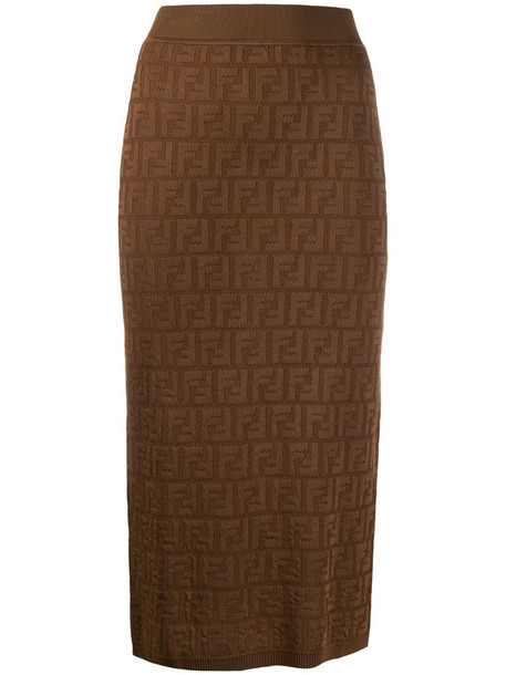 Fendi FF motif fitted skirt in brown
