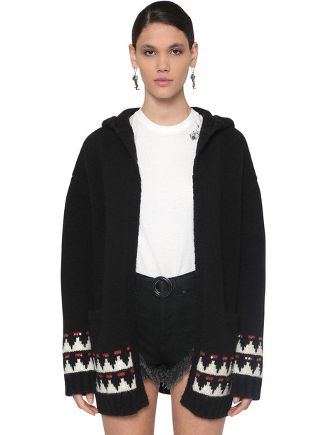 SAINT LAURENT Embellished Wool Maxi Cardigan W/ Hood in black / multi