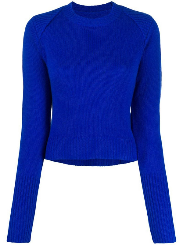 RtA cashmere ribbed neck jumper in blue