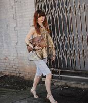 shorts,denim shorts,sandals,blouse,layered,brown bag,snake print