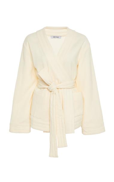 Deitas Veronique Wool Blend Belted Kimono in white
