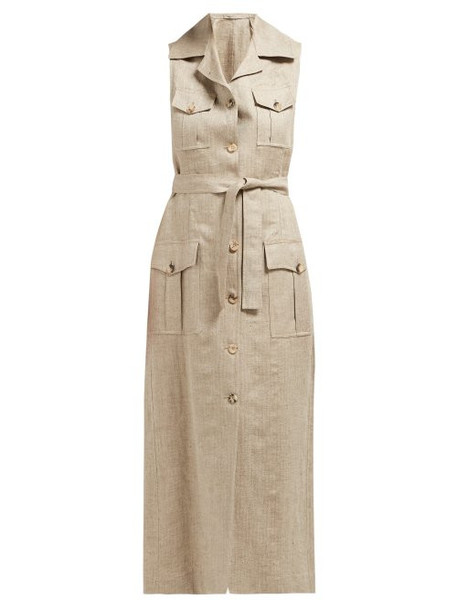 Giuliva Heritage Collection - The Mary Angel Linen Midi Dress - Womens - Beige