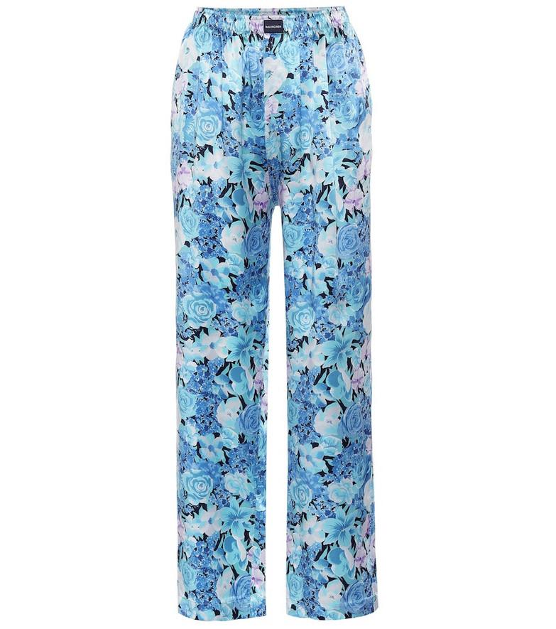 Balenciaga Floral wide-leg silk pants in blue