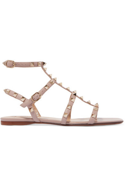 Valentino - Valentino Garavani The Rockstud Leather Sandals - Blush